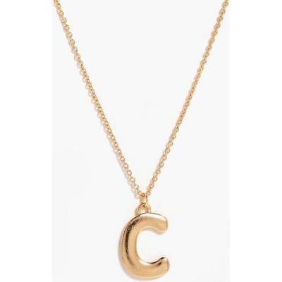 C Initial Charm Necklace - gold