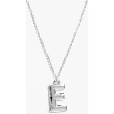 E Initial Charm Necklace - silver