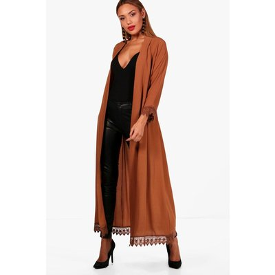 Lace Trim Belted Duster - amber