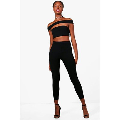 Off Shoulder Crop and Trouser Co-ord - black