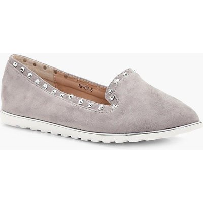 Studded Slipper Ballets - grey