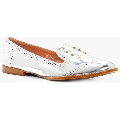 Pearl & Stud Trim Loafer - silver