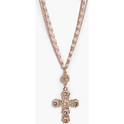 Statement Cross Pearl And Chain Necklace - gold
