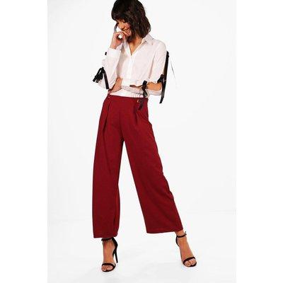 Button Front Wide Leg Trouser - burgundy