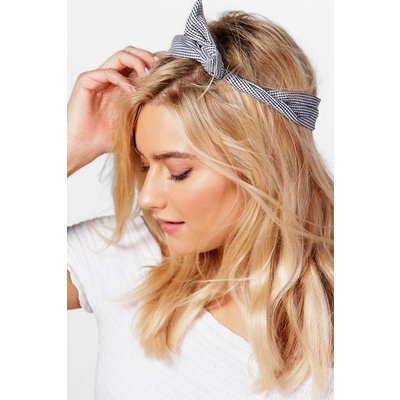 Gingham Check Bend Tie Headscarf - white
