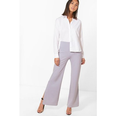 Wide Leg Split Side Trouser - grey