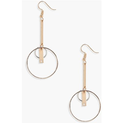 Layered Hoop and Bar Earrings - gold