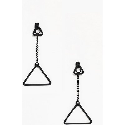 Double Triangle Earrings - black