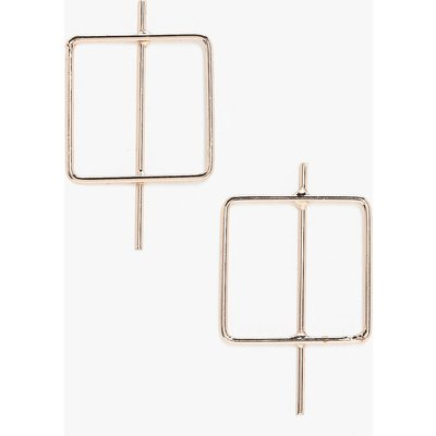Square Hoop Bar Earrings - gold
