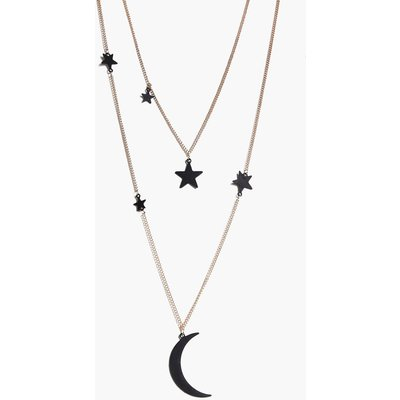 Layered Moon And Star Necklace - gold
