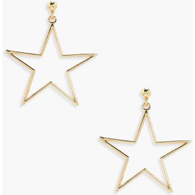 Star Metal Ball Stud Earrings - gold