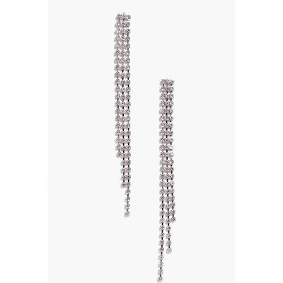 Diamante Drop Earrings - silver