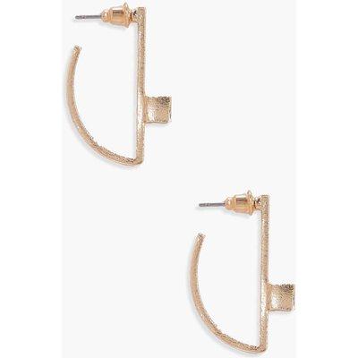 Half Circle Cube Detail Earrings - gold