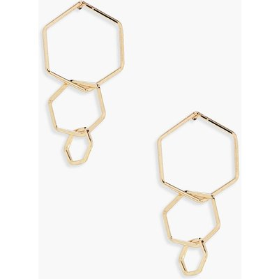 Layered Hexagon Earrings - gold