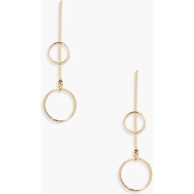 Double Hoop Bar Drop Earrings - gold
