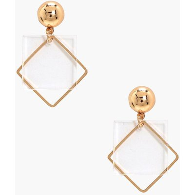 Clear Plastic Square Detail Earrings - gold