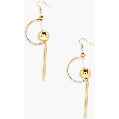 Bar Beaded and Half Circle Drop Earrings - gold