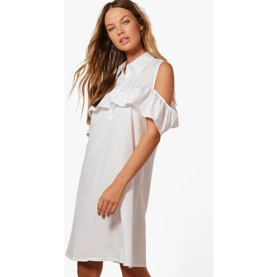 Ruffle Could Shoulder Shirt Dress - white