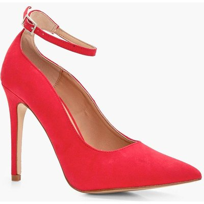 Pointed Toe Ankle Band Court - red