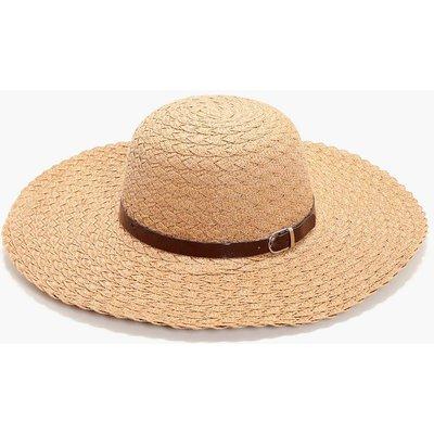 PU Trim Straw Floppy Hat - natural
