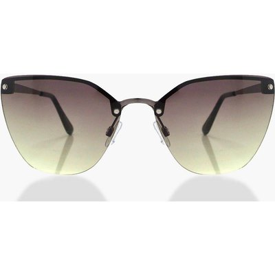 Black Oversized Frameless Sunglasses - black