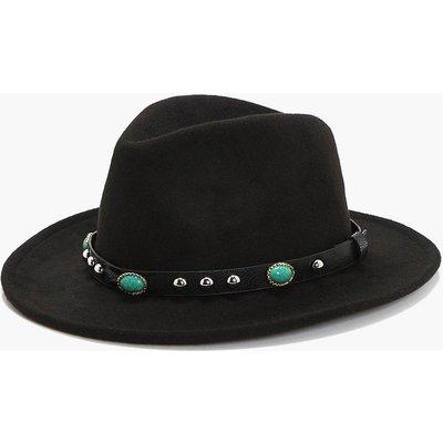 Stone And Stud Fedora Hat - black
