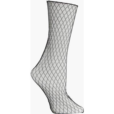 Sheer Fishnet Ankle Socks - black