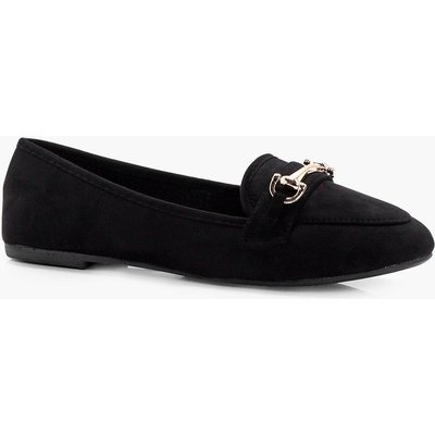 Metal Trim Slipper Ballet - black