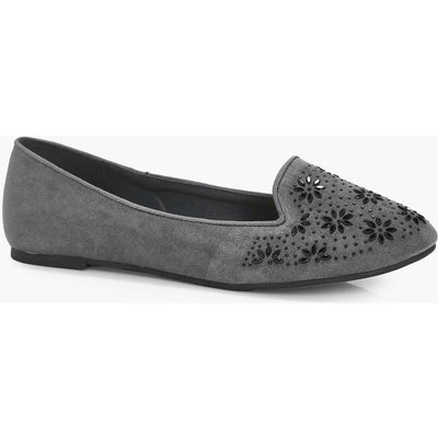 Embellished Trim Slipper Ballet - grey