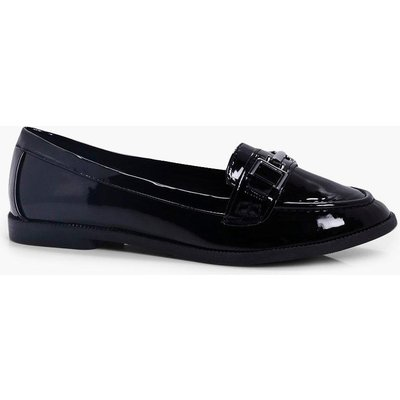Metal Trim Patent Loafer - black