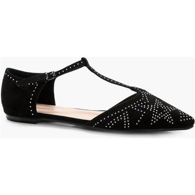 Stud Detail T-Bar Ballet - black