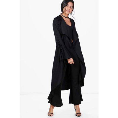 Flute Sleeve Lace Up Duster - black