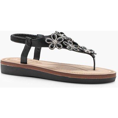 Flower Embellished Footbed Sandal - black
