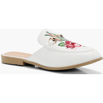 Embroidered Loafer Mule - white