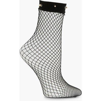Studded Fishnet Ankle Socks - gold