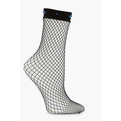 Studded Fishnet Ankle Socks - purple