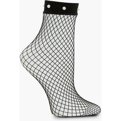 Studded Fishnet Ankle Socks - white