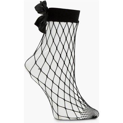 Bow Back Fishnet Socks - black