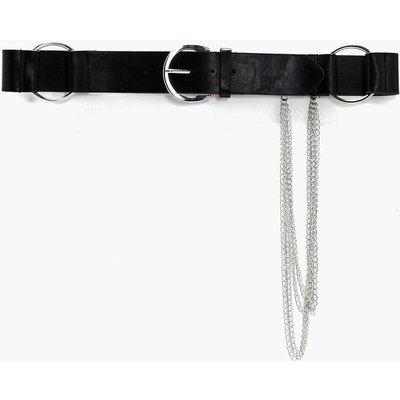 Large O-Ring Chain Detail Belt - black