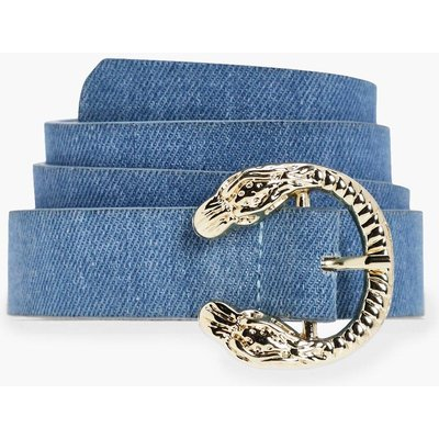 Mini Snake Buckle Detail Denim Belt - blue