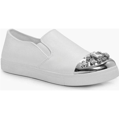 Embellished Toe Cap Skater - white