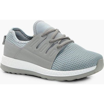 Mesh Lace Up Sports Trainer - grey