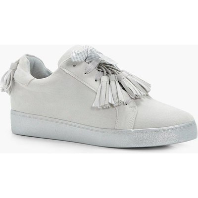 Tassel Trim Ribbon Trainer - grey