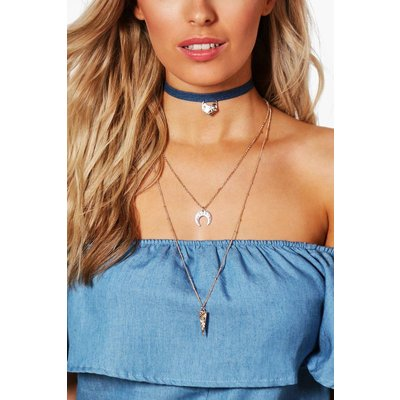 Layered Horn And Military Badge Choker - gold