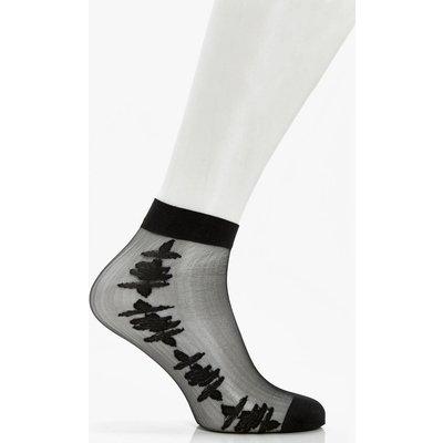 Rose Mesh Ankle Socks - black