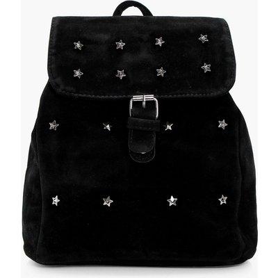 Star Embellished Suedette Rucksack - black