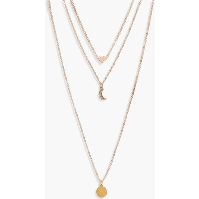 Layered Moon Charm Necklace - gold