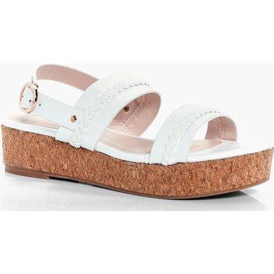 Plait Detail Cork Footbed Sandal - white