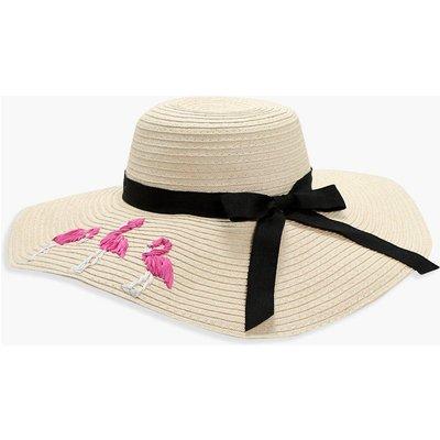 Flamingo Straw Floppy Hat - natural