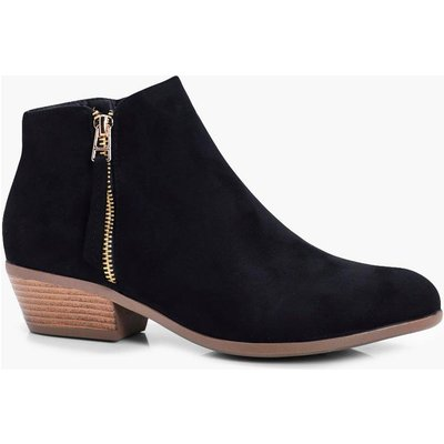 Zip Trim Ankle Boot - black